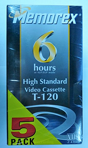5-pack Hs T-120 Vhs Video Tape 6hr by Memorex