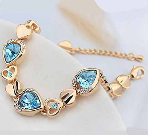 CNCbetter Swarovski Elements Crystal Navy Blue Trend Heart Chain Link Charm Bracelet Rose Gold Plated
