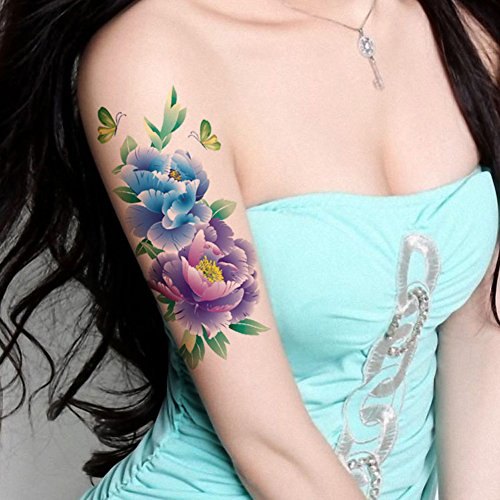 Tafly butterfly large peony flower body art temporary for Fake tattoos amazon