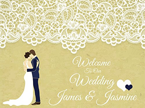 Custom Welcome to Our Wedding Party Poster Cartoon Bride Groom - sizes 36x24, 48x24, 48x36; Personalized Wedding Home Decorations, Handmade Party Supply Photo Booth (Homemade Halloween Photo Backdrops)