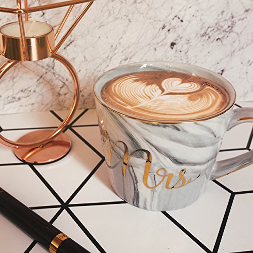 Wedding Gift - Mr and Mrs Mug Set - Classy and Elegant Gift Box with 2 Marble/Gold Tea or Coffee Cups - Beautiful Couples Anniversary, Engagement or Wedding Present for Bride and Groom - His and Her's by GIFTALIA (Image #3)
