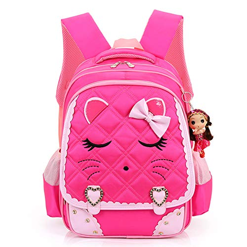 Face Princess - Fanci Cute Cat Face Bowknot Elementary School Backpack Bookbag for Girls Princess Style Primary School Bag …