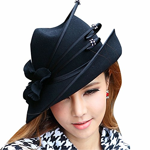 June's Young Fashion Wool Hats for Women Winter Hat Fedoras (Black)