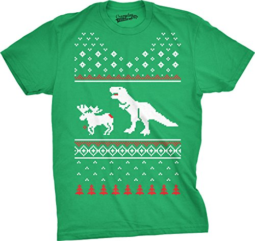 T-Rex Attack Moose Ugly Sweater Style T Shirt Funny Christmas Shirt (Kelly Green) XL