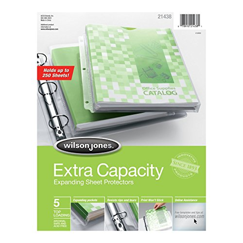 - Wilson Jones Extra Capacity Top-Loading Sheet Protectors, 250 Sheet Capacity, Letter Size, 5 Sleeves per Pack, Clear (W21438)