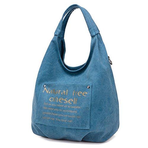 Quotidien Blue Femme Sac Bandoulière Yumuymey Décontracté Usage Beige Toile Poignée En Pour color À Et Main Avec IaqwdqUz