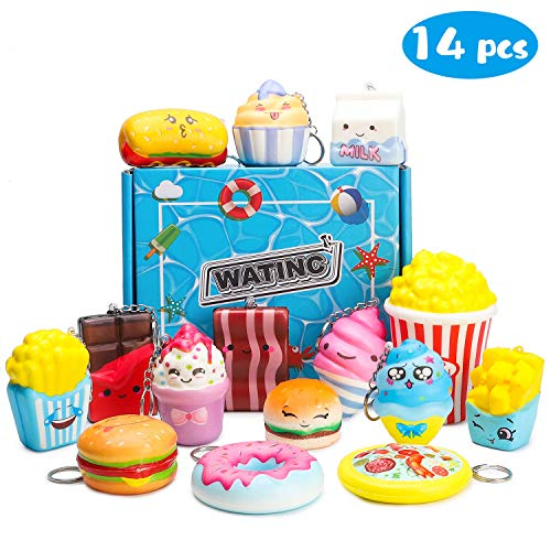 WATINC Random 14pcs Food Squishies Soft Slow Rising Jumbo Popcorn Mini Donut Pizza Chocolate Cream Set for Kawaii Colorful Kid Toys, Party Favor Decoration and Adult Stress Relief Keychain Phone Strap