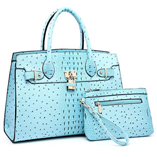 - Women Handbag Designer Purse Fashion Ladies Shoulder Bag Top Handle Satchel Bag  with Pouch-blue Ostrich Leather