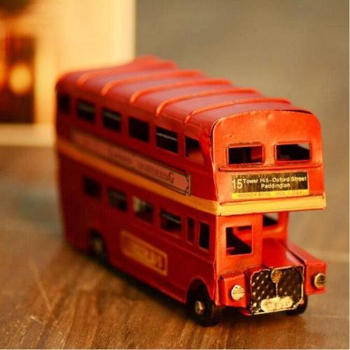 Retro Shabby UK London Bus Red Metal Home Table Desk Ornament Statue Gift Toy