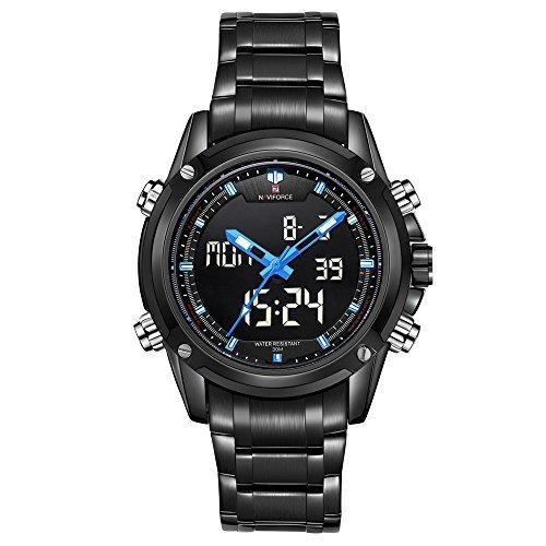 PHCOOVERS Men's Analog Digital LED Sport Stainless Steel Band Date Day Dual Time Dispaly Watch Black Blue
