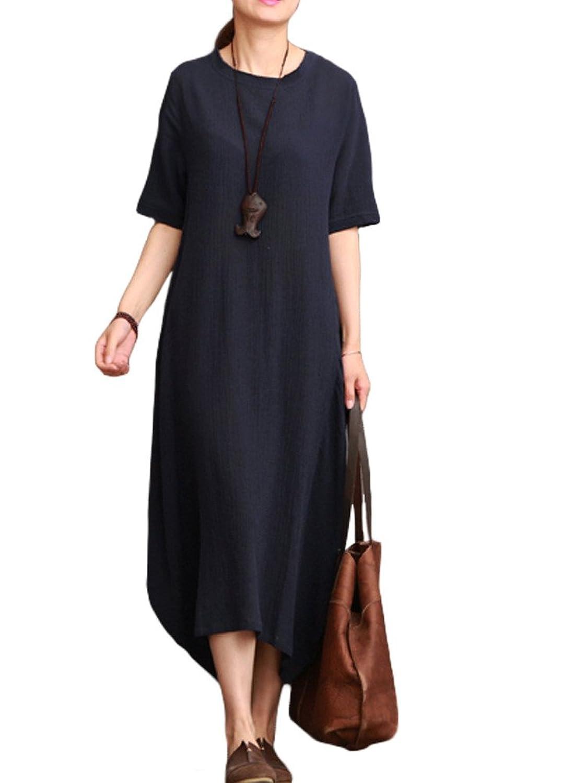 MatchLife Damen Irregulär Kurzarm Vintage Kleider jetzt kaufen