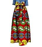 Tootless Women's Big Pendulum Waist Bowknot African Print Dashiki Long Skirt 6 2XL