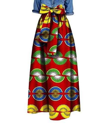 Tootless Women's Big Pendulum Waist Bowknot African Print Dashiki Long Skirt 6 2XL by Tootless-Women