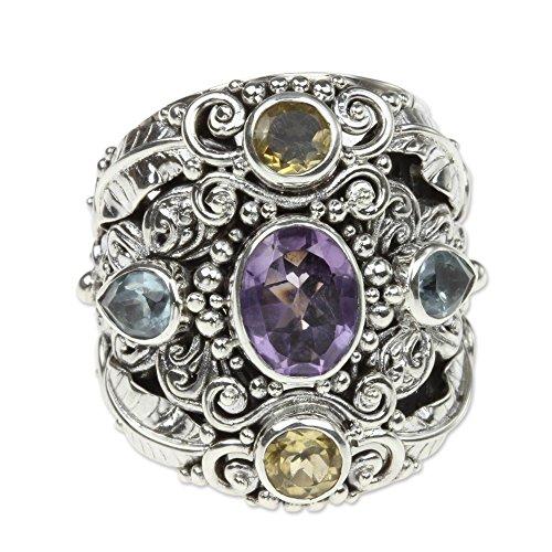 Rings : Amethyst Cocktail Ring (NOVICA Multi-Gem Amethyst .925 Sterling Silver Cocktail Ring, 'Butterfly Queen')