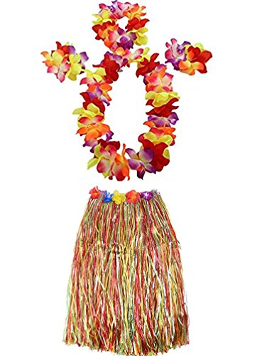 Grass Multi Color Hula Skirt (Yansanido Graduation Dancing Hula Set Grass Skirt Adult Costume Suit Elastic Hawaiian Hula Dancer Grass Skirt (Multicoloured(80 Cm 5pcs/Set)))