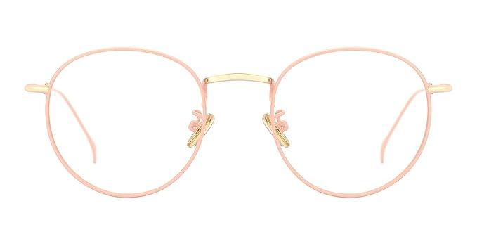 5b3877f3d5c1 TIJN Women Metal Circle Eyeglasses Fashion Full Rim Round Thin Artist Frame -Henk