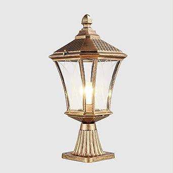 Luces de pedestal E27 Luces exteriores de forma Lámpara exterior Lámpara de aluminio y vidrio Baliza de alumbrado público Lámpara de jardín Cerca césped Paisaje Porche Camino Iluminación, Bronce: Amazon.es: Iluminación