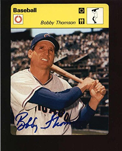 (1977 Editions Rencontre Bobby Thomson Authentic On Card Autograph Signature Ax52 - Baseball Slabbed Autographed Cards)