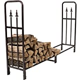 Sunnydaze Bronze 6 Foot Indoor Outdoor Decorative Firewood Log Rack