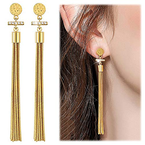 Suyi Elegant Long Tassel Earrings Crystal Dangle Drop Earrings Fringe Ear drop for Women Girls Gold