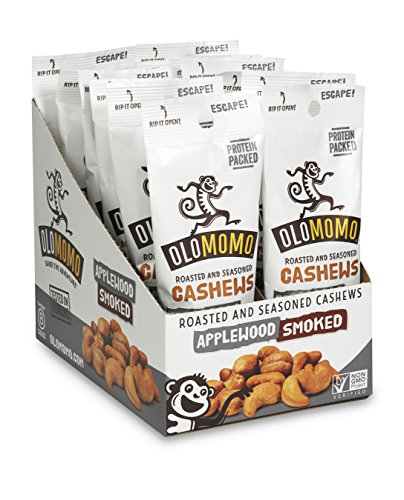 OLOMOMO Applewood Smoked Cashews: Paleo, Vegan, Gluten Free, Non-GMO, Healthy Snack packs, Bacon flavor, Sea Salt, Multi-pack