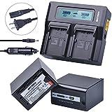 Batmax 2Packs VW-VBD58 VW-VBD78 AG-VBR89 AG-VBR59 Batteries 7800mAh + 3X Faster LCD Display Dual Charger Car Plug for Panasonic VW-VBD58 VW-VBD29 AG-DVX200,AG-AC8,HC-MDH2,HC-X1000 4K,HDC-Z10000