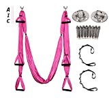 AIC Yoga Swing - Ultra Strong Antigravity Yoga Hammock/Trapeze/Sling for Antigravity Yoga with Adjustable Handles and 2 Extension Straps and Installation Hardware Include Carrying Bag (Pink)