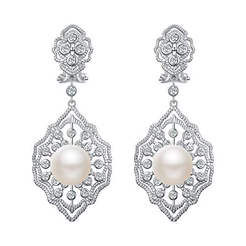 EVER FAITH 925 Sterling Silver CZ 10MM Pearl Art Deco 1920s Prom Rhombic Chandelier Dangle Earrings