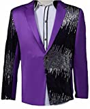Jmwss QD Mens Tuxedo Single-Breasted Show Suit Sequins Punk Comfy Jacket Blazer