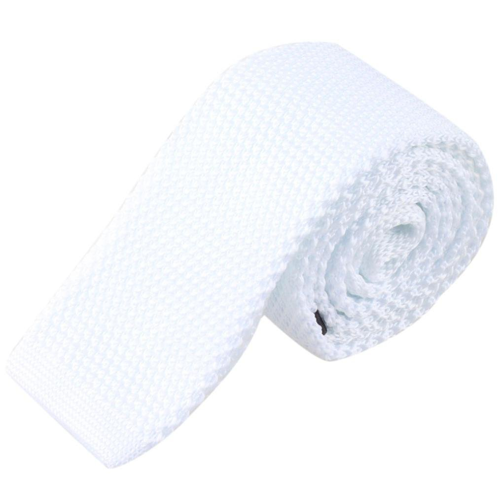 Siviki Fashion Men Knit Knitted Tie Necktie Neck Narrow Casual Slim Skinny Woven (White) by Siviki (Image #1)