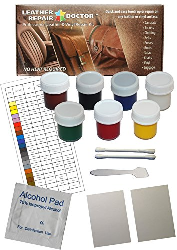 Leather Repair Doctor Complete DIY Kit | Premixed Glue & Paint ALL-IN-ONE Professional Restoration Solution | Match ANY Color, No-Heat | Sofa, Couch Chairs, Car Seats, Jacket, Boots, Belts, ()