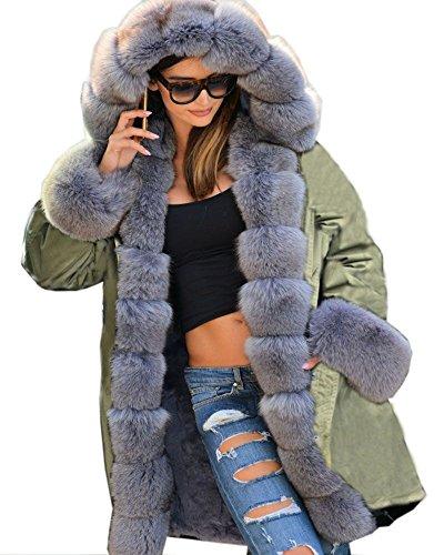 Coat Warm Roiii Ladies Outerwear Green Parka Fur Vintage Hood Winter Long Jacket Army 18 8 a5Bnrv5q