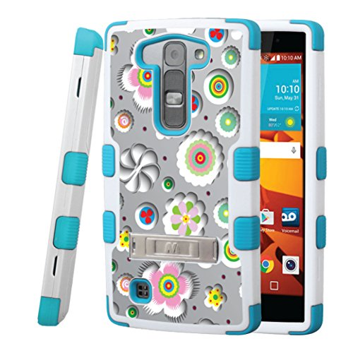 (LG Volt 2 Magna Case, CASECREATOR[TM] For LG Volt 2 LS751 / Magna H502G (Boost Mobile) -- TUFF Hybrid Stand Rubber Hard Snap-on Case White Teal-Flower Shadows)