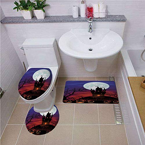 iPrint Bath mat Set Round-Shaped Toilet Mat Area Rug Toilet Lid Covers 3PCS,Halloween Decorations,Gothic Haunted House Castle Hill Valley Night Sky October Festival Theme,Multi,Customized Rug Set]()