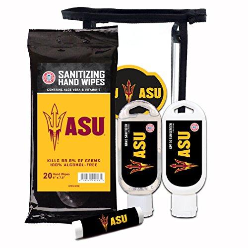(Worthy Promotional NCAA Arizona State Sun Devils 4-Piece Premium Gift Set with SPF 15 Lip Balm, Sanitizer, Wipes, Sunscreen )