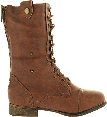 Women's Military Lace up Fold-able Ankle Bootie Mid Knee Combat Boots