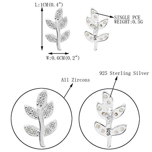 Ever Faith - Germe - Boucle d'Oreilles Argent 925 Cubic Zirconia Feuille Printemps N07089-1