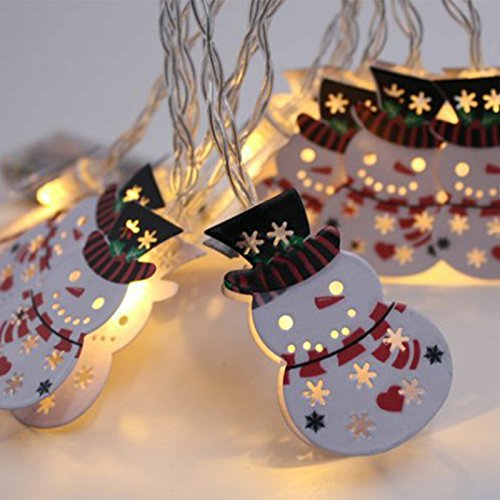 Lvydec Snowman LED String Lights, Battery-Operated Christmas Decoravite Lights with 10 Metal Snowman Figurines, Indoor/Outdoor Use for Winter Festival Xmas Tree Decor (Lights Christmas Snowman)