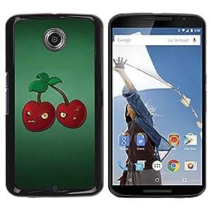 TECHCASE**Cubierta de la caja de protección la piel dura para el ** Motorola NEXUS 6 / X / Moto X Pro ** Angry Grumpy Cherries Red Berries Healthy Food