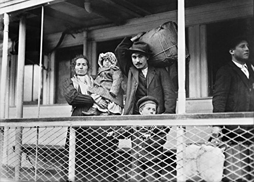 Italian Immigrant Family Na Family Of Italian Immigrants On Board The Ellis Island Ferry To Manhattan Photograph By Lewis Hine C1905 Poster Print by (18 x 24)
