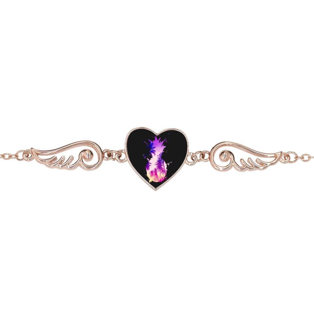 LUQeo Sunset Summer Beach Pineapple Personalized Design Heart Charm Bracelet Jewelry