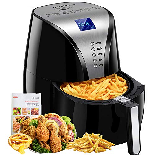 (Habor Air Fryer, 4Qt Oilless Hot Air Oven, 7-in-1 Electric Hot Air Cooker, 1500W Power Deep Fryer W/ Auto Off & Memory Function, Easy Operation Digital LCD Screen, Dishwasher Safe (Recipes Included))