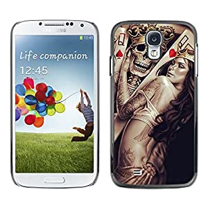 Cráneo Rey y la Reina de Corazones - Metal de aluminio y de plástico duro Caja del teléfono - Negro - Samsung Galaxy S4