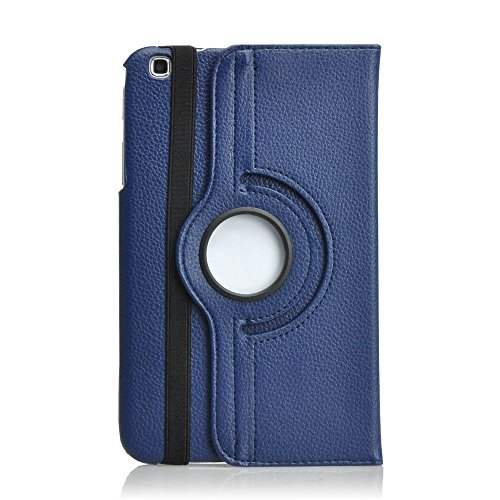Moonmini 360 Rotation PU Leather Protective Case Cover Pouch for Samsung Galaxy Tab 3 8.0 SM-T310 SM-T311 SM-T315 Tablet Book Cover with Integral Support Function + Stylus Pen + Screen Film - Navy Bl