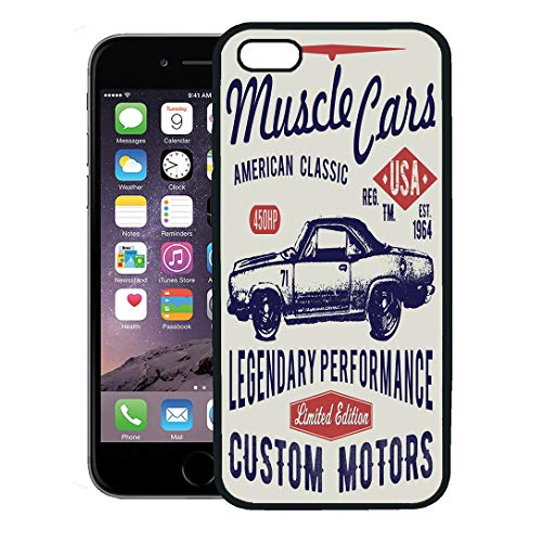 Semtomn Phone Case for iPhone 8 Plus case,Sport Retro Car Graphics Typographic Vintage for Label Badge Applique Hotrod iPhone 7 Plus case Cover,Black
