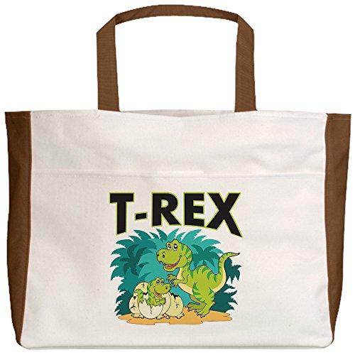 Royal Lion Beach Tote (2-Sided) T-Rex Dinosaur Tyrannosaurus Baby - Mocha
