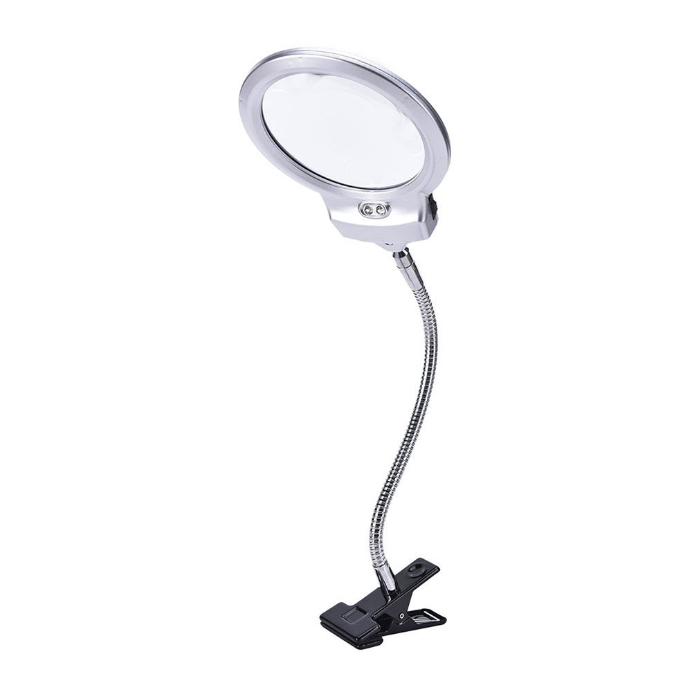 KKmoon New Lighted Clip-on Table Top Desk LED Lamp Reading 2.5 x 5x Magnifier Large Lens Magnifying Glass with Clamp