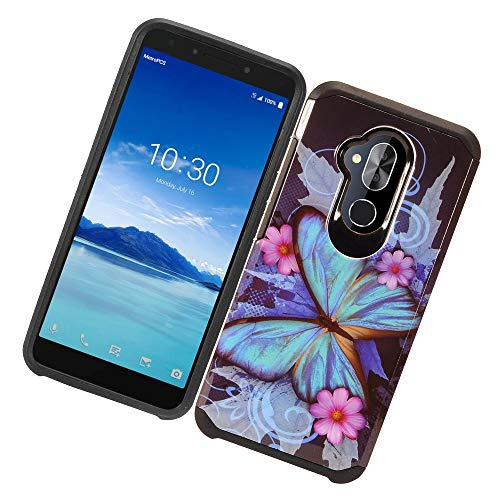 for Alcatel 7 / Revvl 2 Plus/ ACTL6062 [2018 Release for Metro PCS, etc] Cute Heavy Duty Defender Shock Proof Dual Layer Hybrid TPU Reinforced Case [Free Emoji Keychain] (Blue ()