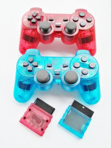 Donop 2.4g Wireless Gaming Controller for Sony Playstation 2 Dual Shock Dual Ps2 - 2 pack,(clear red + light - Microsoft Number Phone Store Uk
