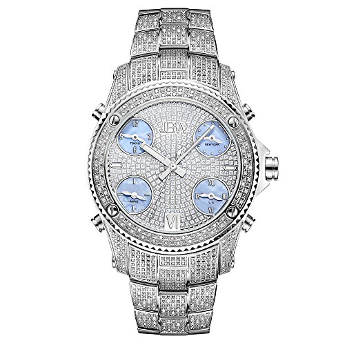 JBW Luxury Men's Jet Setter 2.34 Carat Diamond Wrist Watch with Stainless Steel Link Bracelet ()